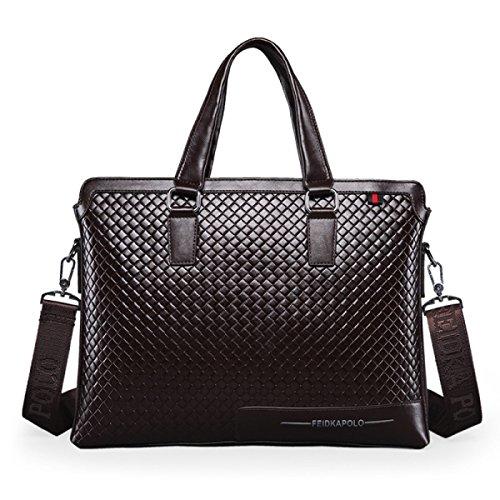Männer Schultertasche Handtasche Messenger Bag Lingge Leder Männlich Tasche Computer Tasche B