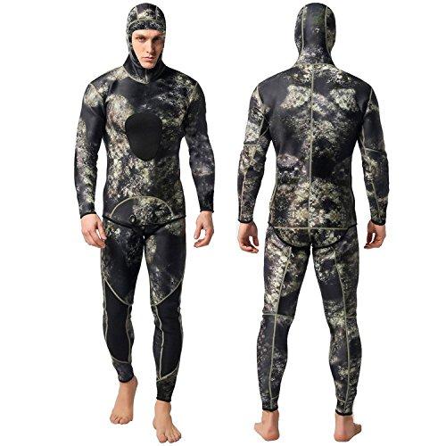 Nataly Osmann Camo Spearfishing Wetsuits Herren 3mm Premium Neopren 2-teilige Kapuzen-Super-Stretch-Tauchanzug- Gr. XXL, Camo 1