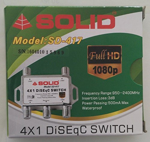 Solid SD-417 4 in 1 DiSEqC Full HD LNB Satellite Multi-Switch (Silver)