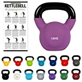 MSPORTS Kettlebell Neopren 2 - 30 kg inkl. Übungsposter (12 Kg - Lila) Kugelhantel