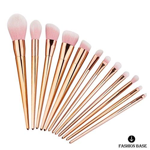 Fashion Base® 12 pcs Lot de pinceaux de maquillage professionnel Tools-natural Cheveux synthétiques Kabuki Brush-beauty Cosmetics Brush-make-up Kit-face de toilette Poudre Contour Surligneur Fond de teint liquide Correcteur Fard à paupières Brosse à sourcils