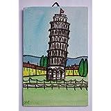 Torre di Pisa-Dipinto ad acrilico su cartoncino telato, dimensioni cm 10x15x0,3 cm,pronto per essere attaccata al muro.Made in Italy,Toscana,Lucca.Creata da Davide Pacini.
