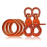 Ganzoo 3 x O - Ring aus Stahl und 2 x Scheren-Karabiner-Haken mit Dreh-Gelenk/Dreh-Kopf im Set, DIY Hunde-Leine/Hunde-Halsband, nichtrostend, Ideal mit Paracord 550, Farbe: orange