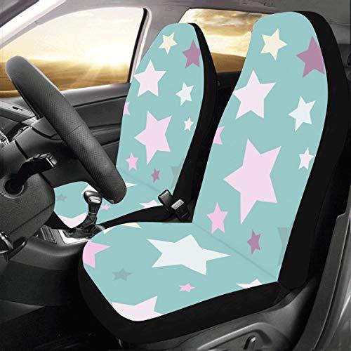 Rtosd Schöne farbige Glitter Sterne benutzerdefinierte Fit Auto Drive Autositzbezüge Protector für Frauen Automobil Jeep Truck SUV Fahrzeug Full Set Zubehör für Erwachsene Baby (Satz von 2 Front) -