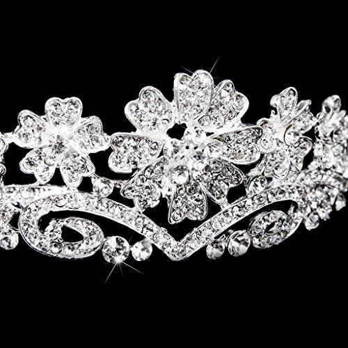 Preciosa Nupcial Diadema Celada Corona Tiara Flores Boda Fiesta Prom Cristal