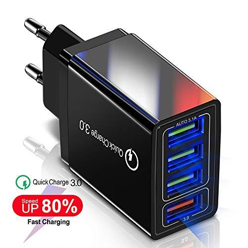 JUNKER Quick Charge 3.0 Caricatore USB da Muro Carica Rapida da 4 Porte Caricabatterie da Parete Tecnologia Smart Adaptive di Ricarica Rapida per