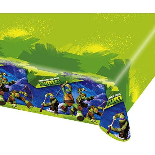Amakando Ninja Turtles Tischtuch Tischdecke 120 x 180 cm Kindergeburtstag Tischdeko Partytischdecke Tischdekoration Tafeltuch abwaschbar Decke Table Cover Mottoparty Folientischdecke Teenage Mutant