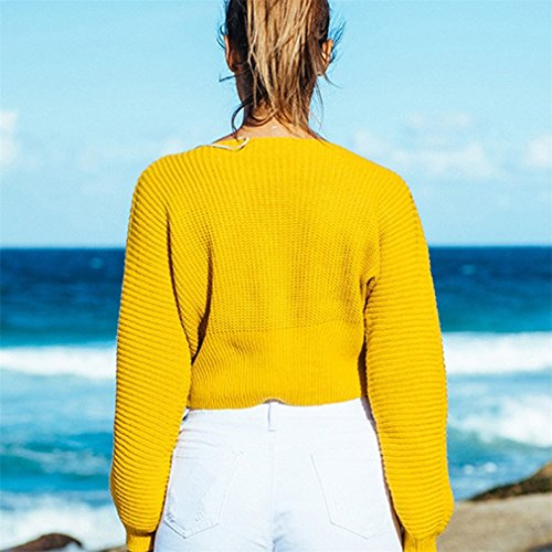 Honghu Femme Casual Loose Manches Longues Cou Rond Sans Bretelles Pulls Loisirs Long Sweater Jaune