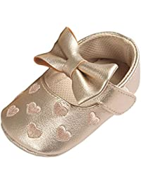 Minuya Toddler Baby Girl Bowknot Soft Sole Non-slip Footwear Crib Shoes Moccasins