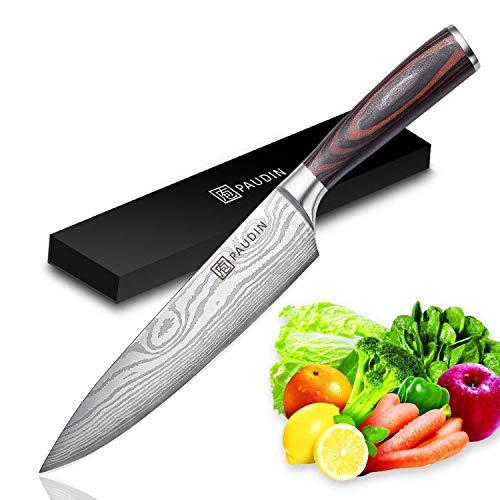 *PAUDIN Kochmesser Küchenmesser 20cm Profi Messer Chefmesser Allzweckmesser aus hochwertigem Carbon Edelstahl, Extra Scharfe Messerklinge mit ergonomischer Griff*