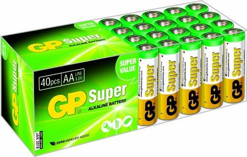 GP Batterien AA (Mignon LR6 15A) Vorratspack Super Alkaline, besonders langlebig und auslaufsicher, Markenware GP Batteries (40 Stück in der praktischen PET-Box, einzeln entnehmbar) Alkaline-batterie-box