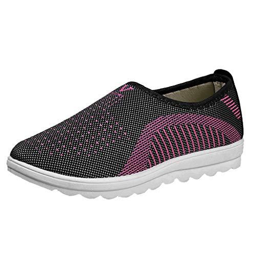 Yvelands Loafers weichen Schuhen Flache Damen Mesh Hose mit bequemen Walk Strip Sneakers(Grau(Damen),37)