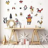 Stickers adhésifs Noël | Sticker Autocollant Animaux Hivernales - Décoration Murale Scandinave - Fêtes de Noël | 30 x 50 cm