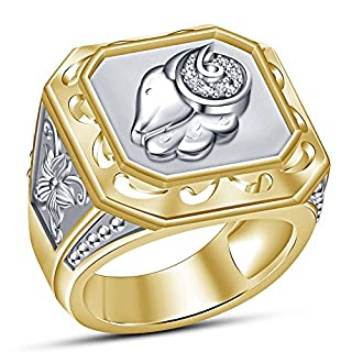 Vorra Fashion Zodiac Sing Ariex 14k Gold Plated Solid 925 Sterling Silver Men's Band Ring (N 1/2)