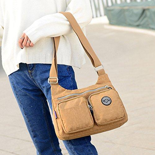 MeCooler Schultertasche Mode Umhängetasche Damen Taschen Leichter Messenger Bag Wasserdicht Kuriertasche Lässige Sporttasche Reisetasche Rot 3