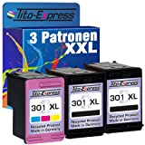 PlatinumSerie® Sparset 3 Patronen kompatibel für HP 301 XL Black & Color