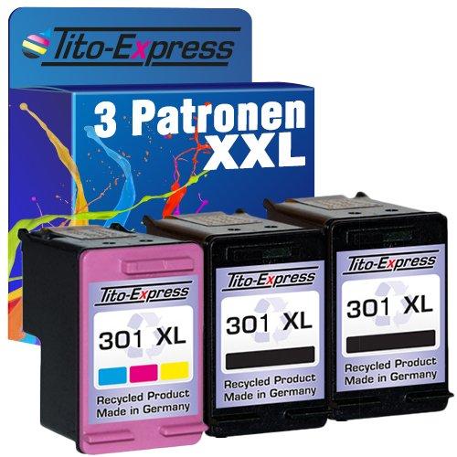 PlatinumSerie® Set 3x Tinten-Patrone kompatibel für HP 301 XL Black & Color Officejet 2620 2622 4630