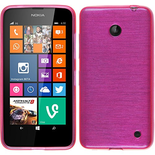 PhoneNatic Custodia per Nokia Lumia 630 Cover rosa caldo brushed Nokia Lumia 630 in silicone Cover