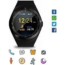 Reloj inteligente, CoolFoxx Y1 Bluetooth 3.0 Inteligente Tarjeta Micro SIM reloj de pulsera con pantalla táctil, podómetro, monitoreo de sueño, mensaje, calendario, llamada y recordatorio sedentario para iPhone, Samsung, Android, Motorola, LG, HTC (negro)