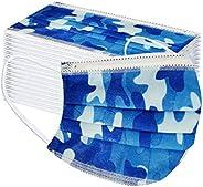 50 Piezas de CordóN de Oreja Colgante Suave con Estampado dDe Camuflaje Azul Transpirable Protector Desechable