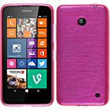 PhoneNatic Case für Nokia Lumia 630 Hülle Silikon pink brushed Cover Lumia 630 Tasche Case