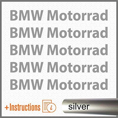 5pcs ADESIVI Metallizzati BMW Motorrad F650GS F 650 GS F650 F700GS 700 F700 F800GS 800 F800 R1150GS R1150 1150 R1200GS R1200 1200 R1200R R1200 R S1000XR S 1000 XR S1000 R1200RT R1200 RT (Argento)