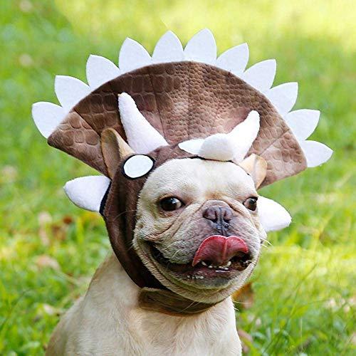 JSMeet Hundedinosaurier Kostüm, verstellbares Hundetriceratops Kostüm für Hunde wie Käfer, Bullterrier, Shar Pei, Bulldogge, Corgi, Labrador, Retriever, japanischer Akita, Pudel