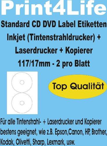 100 CD - DVD Labels - Etiketten - Aufkleber, selbstklebend; Hochweiß;117/17; Standard-Qualität