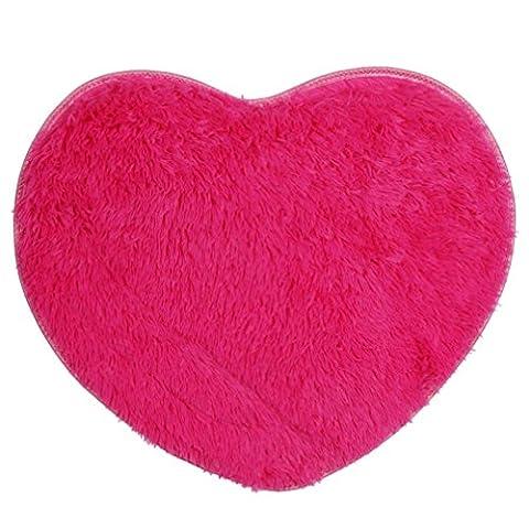 Rumas doux antidérapant Tapis salon Chambre à coucher Tapis Shaggy, rose vif, 60*70cm