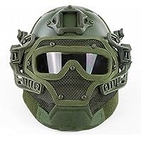 Casco táctico Molle PJT tipo rápido combinado con gafas y máscara completa para cara protectora para airsoft Paintball CS Wargame, OD