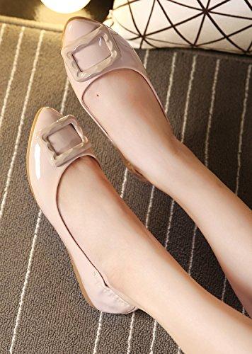 dqq Femme Élastique Talon Chaussures plates à enfiler Beige - Chair