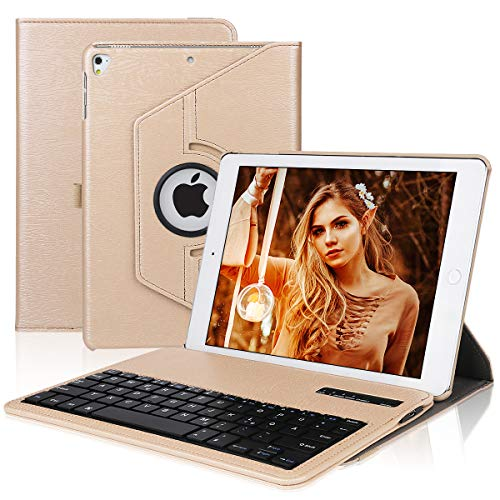 Tastatur Hülle Kompatibel mit Ipad 9.7 inch, ipad case - 360 Grad drehbar - QWERTZ Wirless Tastatur, für iPad 2018 (6th Gen) - iPad 2017 (5th Gen)- ipad pro 9.7- ipad air und ipad air 2- Gold
