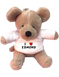 Llavero de ratoncito de peluche con Amo Edmond en la camiseta (nombre de pila/apellido/apodo)