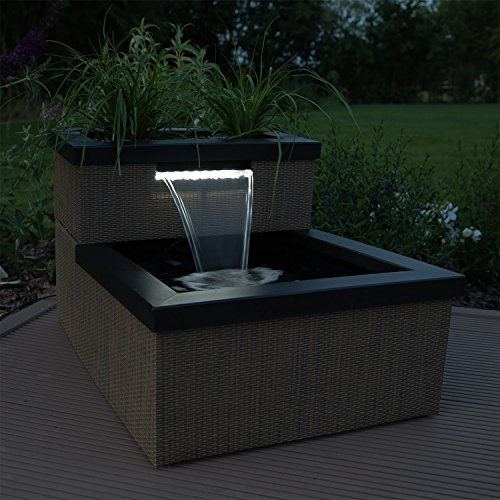 clgarden miniteich set mtws1 mit wasserfall led beleuchtung mini teich f r teich blumen. Black Bedroom Furniture Sets. Home Design Ideas