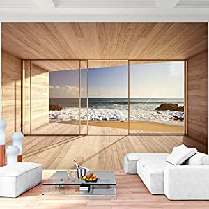 fototapete fenster zum meer 352 x 250 cm vliestapete. Black Bedroom Furniture Sets. Home Design Ideas