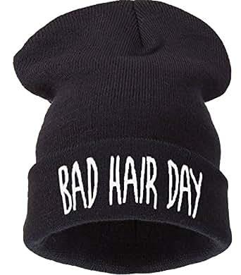 Bonnet Bad Hair Day Beanie Noir Black BHD Noir Hat Wesh Stylé brodé Black