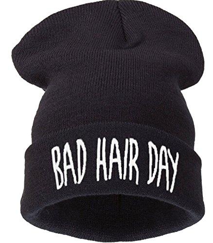 4sold Bad Hair Day Beanie Mütze (schwarz mit weißem Logo) Haube Wintermütze Strickmütze Einstickung black cool modisch