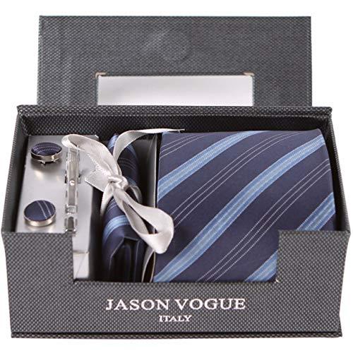 Yetta Home 9cm dunkelblaue hellblaue Streifen Krawatten Set Krawatte Manschettenknöpfe Einstecktuch Krawattenklammer in Geschenkbox