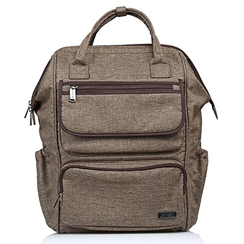 LEMESO Rucksack Damen Herren Studenten Backpack 14 Zoll Laptop Daypacks Schüler für Wandern Reisen Camping (Braun)