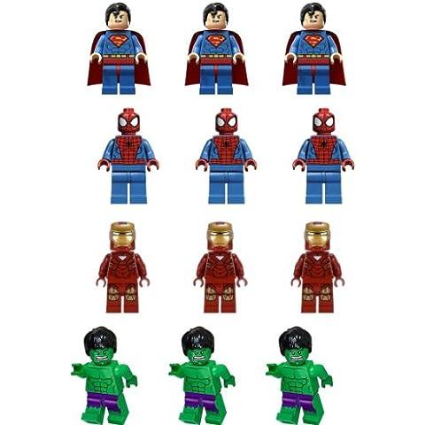 Carlton Trading Lego-super Heroes-figuras, decoraciones de torta comestible premium-papel oblatos, 50 A 60 mm, 12 pcs (4 diferentes figuras)
