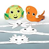 Kronen zum Ausmalen 'Meerestiere' für Kinder zum Basteln und Dekorieren - Kreatives Sommer-Bastelset für Kinder (6 Stück)