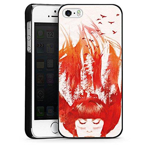 Apple iPhone 5 Housse étui coque protection Fille Cheveux Nature CasDur noir