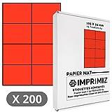 200 Selbstklebende Etiketten rot Neon von 105 x 74 mm - 8 Etiketten/Blatt - 25 Blatt A4 / Papier matt - Farbe - Für Inkjet/Laser/Kopier Drucker - Etiketten farbig