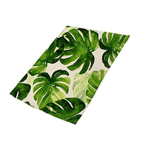 MagiDeal Grüne Blätter Muster Platzmatten-Set Tischsets Platzdeckchen Tischmatte aus Baumwollmischung - # 1, 42x32cm (Blatt-untersetzer-set)