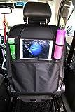 L&HM Auto-Rückenlehnenschutz Rückenlehnen Tasche Trittschutz mit Rücksitz-Organizer Rücksitzschoner, Kick-Matten-Schutz für den Autositz mit Durchsichtigem Extra Großen iPad-Tablet-Halter, Tablet-Fach Wasserdichtes Material Schwarz