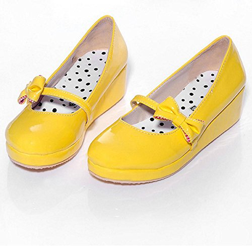 RAZAMAZA Femmes Tricoter Plateforme Chaussures Yellow-15
