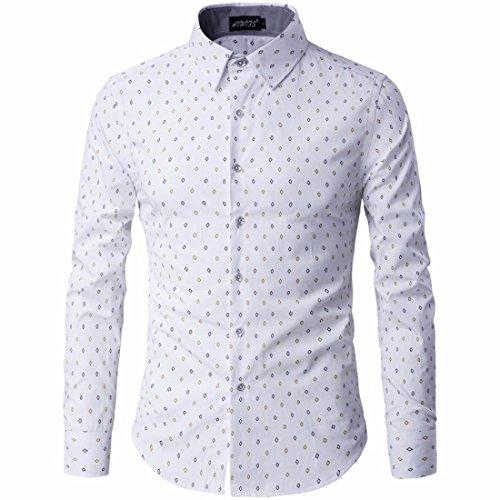 Men's Dot Printed Camisa Masculina Long Sleeve Slim Fit Shirts white