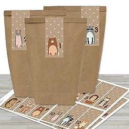 Papierdrachen 24 Sacchetti di Carta per Il Calendario dell'Avvento con Adesivi – Motivo Squadrato – Marrone – 34