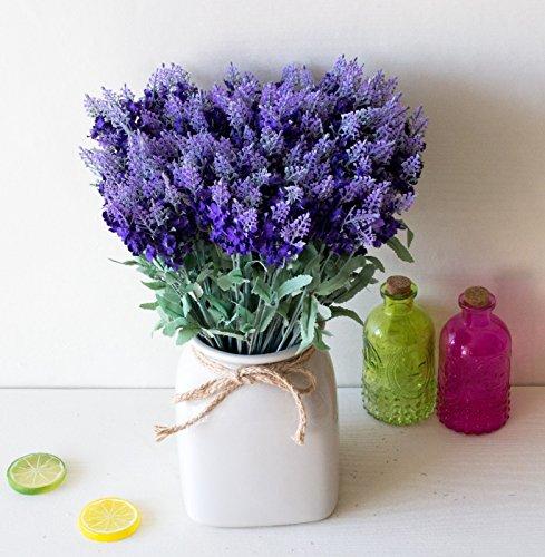 DYF 10 Kopf Kunststoff Seide Lavendel Simulation Blume Home Hochzeit Dekoration, Dunkel Lila (Blumen Seide Dunkel Lila)