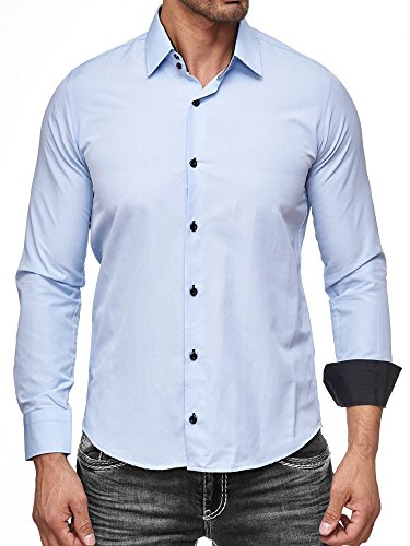 Rusty Neal Herren-Hemd - Slim Fit - Bügelfrei/Bügelleicht - für Business Freizeit Hochzeit Hellblau